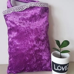 Purple velvet bag with trim