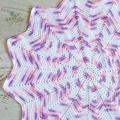 Pink Mauve & White Newborn Hand Crocheted Sunburst Star Baby Blanket