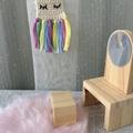 Dollhouse wall hanging , cute miniature wall decor. Handmade cotton, sleepy eyes
