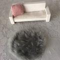 Miniture faux fur rug. Handmade dollhouse floor rug, dollhouse decor. Round mat
