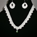 Handmade Crochet Necklace and Earrings