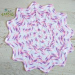 Pink Mauve & White Newborn Hand Crocheted Sunburst Star Baby Blanket