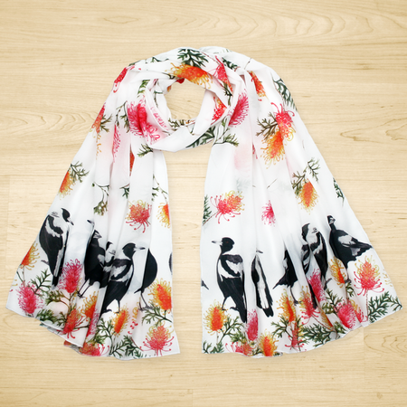 Australian Magpie and Grevillea Scarf