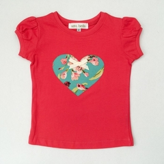 Size 2 - Tshirt - Floral Love Heart - Melon - Aqua - Cotton