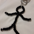 Stickman beaded keyring in black