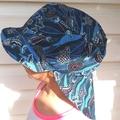 Adjustable Unisex Baby Sunhat legionnaire hat - Indigenous Turtle Print