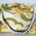 3 x Cheese cloth yellow floral tote/shopping handbags