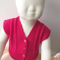 3-6 mths Baby, FREE POST , Lacy Cardi, Fuschia Pink Cotton, Hand Knit