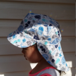 Adjustable Unisex Baby Sunhat legionnaire hat - Happy Sea Creatures