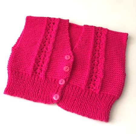 3-6 mths Baby, Lacy Cardi, Fuschia Pink Cotton, Hand Knit