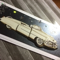 'Classic Vintage White Convertible 3D Car' Birthday Card
