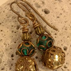 Teal and Gold Czech Glass & Jasper Filigree Drop Earrings - In Brass