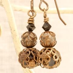 Black and Gold Czech Glass & Jasper Filigree Drop Earrings - Earrings - In Brass