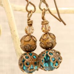 Swarovski Teal Crystal & Jasper Filigree Drop Earrings - In Brass