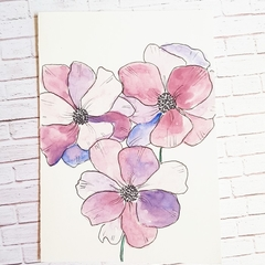 Birthday Card, Thank You Card || purple flowers, watercolour, blank card