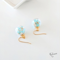 Coral Sand x Aqua Shard Drop Earrings - Handmade kawaii beach