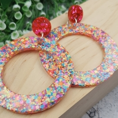 Retro 80s Fluro Glitter Resin - Stud Dangle earrings