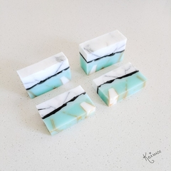 XL Turquoise Marble Gem Soap Bar - Kawaii soap art