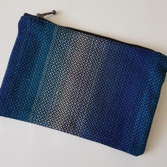 Herringbone blues zip pouch