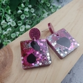 Super Sparkly Grape Resin - Square Stud Dangle earrings
