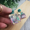 Super Sparkly Galactic Resin - Square Stud Dangle earrings
