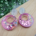Super Sparkly Unicorn Donut Glitter - Circle Hook Dangle earrings