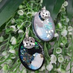 Super Sparkly Midnight Glitter - Oval Hook Dangle earrings
