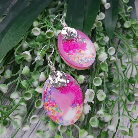 Super Sparkly 80s Glitter - Oval Hook Dangle earrings