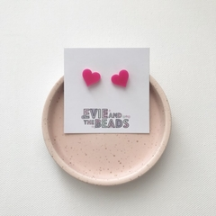 Pink Heart Acrylic Stud Earrings