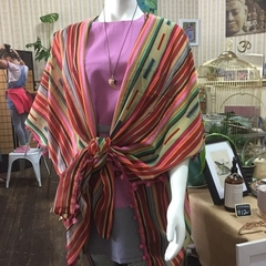 Kimono Wrap Beach Shawl in gorgeous Stripes- Free Size Boho Babe