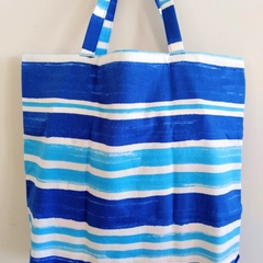 Foldable eco tote / BLUE - STRIPE