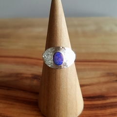 Boulder opal silver textured cigar style  ring, medium,  size AU P1/2