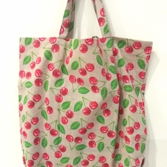 Foldable eco tote / Natural - Cherry
