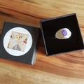 Boulder opal silver textured cigar style  ring, medium,  size AU P1/2