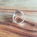 silver ring, medium, textured shield ring, thin band,  AU size Q