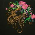 "Ladies Scoop Neck- Dolman Sleeve knit T-Shirt ""Fantasy Floral Women"""