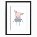 Piggy Blue Art Printable