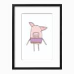 Piggy Purple Art Printable