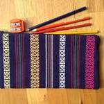 Blue striped pencil case