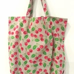 Foldable eco tote / Natural - Cherry / FREE SHIPPING