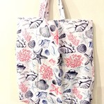 Foldable eco tote / WHITE - Beach / FREE SHIPPING