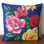 Vintage Retro Traditional ROSES Flowers on Blue Cushion