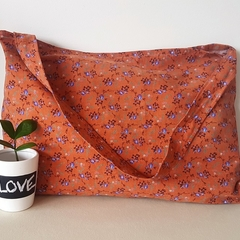 Brown floral corduroy tote/shopping bag
