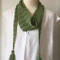 Cotton Scarf Neck Accessory, FREE POST , Hand-Knit, Green