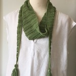 Cotton Scarf Neck Accessory, Hand-Knit, Green