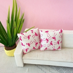 Miniature Flamingo pillows, dollhouse cushions, set of two scatter pillows.