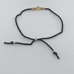 Silk and 14k Gold Filled Cross Adjustable Bracelet
