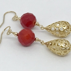 Red Coral Gold Plated Filigree Earrings
