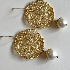 White Pearl and Gold Plated Drop Earrings