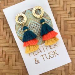 3 Layer Tassel Earrings // Teal, orange, mustard // multi-coloured tassels